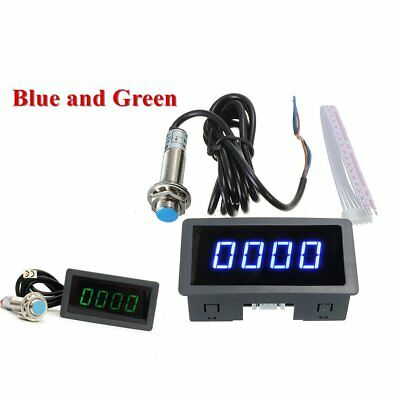 4 Digital LED Blue Tachometer RPM Speed Meter+Hall Proximity Switch Sensor DF