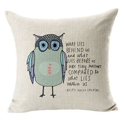 Animal Pattern Owl Pillow Cases Home Decor Linen Sofa Cushions Cover 1pc 45*45cm