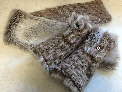Elegant Herringbone Harris Tweed Fur Tippet / Scarf and matching Wrist Warmers
