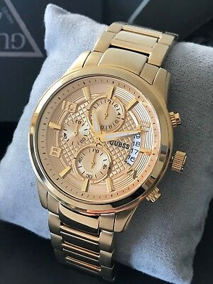 GUESS U0075G5 Mens Gold-Tone Multifunction Chronograph Stainless Steel Watch NEW