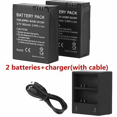 2x AHDBT 301/201 Replacement Battery For GoPro HD Hero3 AC/DC Charger 1600 Mah D