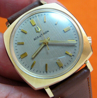 Serviced Vintage 2180 Accutron 10Kt. Rolled Gold Plate Tuning Fork Mens Watch N2