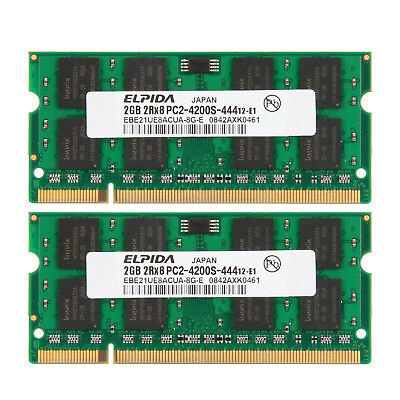For Elpida 4GB 2x 2GB PC2-4200 DDR2-533MHz PC Laptop Memory SO-DIMM Notebook Ram