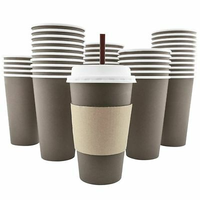 100Pack 16Oz Disposable Hot Paper Coffee Cups Lids Sleeves Stirring Straws To Go