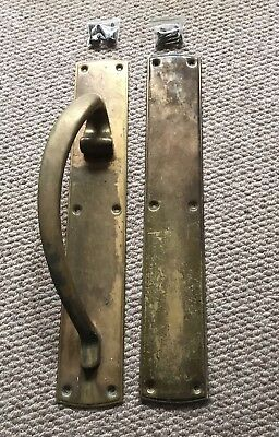 Vintage Antique Brass Door Handle And Push Plate