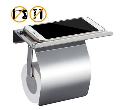 Wall Mounted Toilet Roll Tissue Holder Stand Phone Shelf Bathroom Paper C7f9
