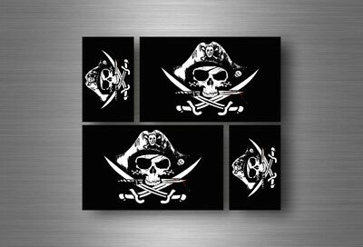 4x autocollant sticker voiture jolly roger drapeau pirate biker jack rackam r3