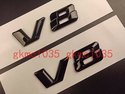 2 X V8 Badges Black Gloss Mercedes Benz C63 S63 E63 Ml63 Sl63 Sl55 Clk55 Sl500