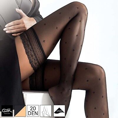 Women's Sensual Deep Lace Top Sheer Hold Ups 20 Denier Patterned Tights S M L