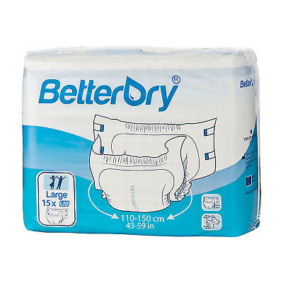 Adult Nappy / Diaper BetterDry - Large - Pack of 15