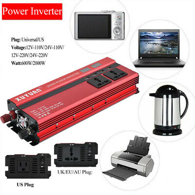 2000W Car LED Power Inverter Converter DC 12V To AC 110V USB Charger Portable