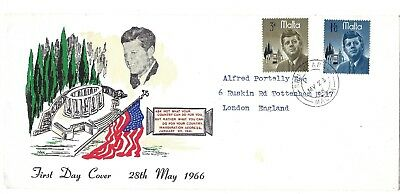 MALTA FDC 28th MAY 1966 J.F.K. COVER SEE SCANS,