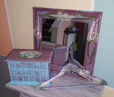 Jewellery box, mirror and hanger, Hand painted by artist.