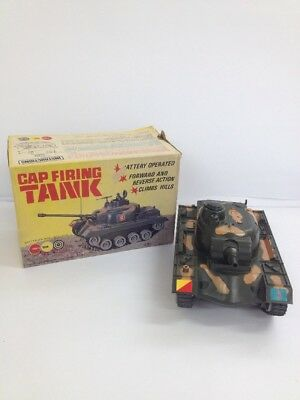 Vintage Marx Toys Boxed Battery Operated Firing Cap CamouflaugeTank (BOX 24_822)