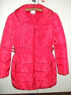 M&S Girls Red Puffa Padded Coat Jacket with Concealed Hood Age 13 14 yrs VGC