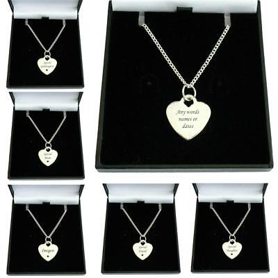 Engraved Necklace for Woman or Girl. Personalised Heart Pendant, Silver Chain
