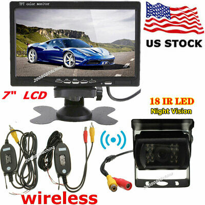 "RV Bus Truck Reverse Rear View System 7"" HD LCD Monitor + Wireless Backup Camera"