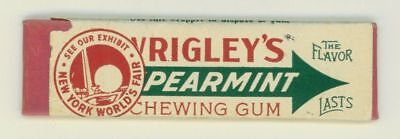 Vintage 1939 World's Fair Chewing Gum Stick w Wrapper Wrigley's Spearmint