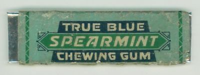 Vintage True Blue Spearmint Chewing Gum Stick w Wrapper Lansing MI