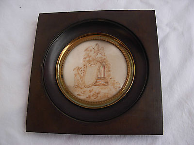 ANTIQUE FRENCH FRAMED MOURNING HAIRWORK,MIDDLE 19th CENTURY