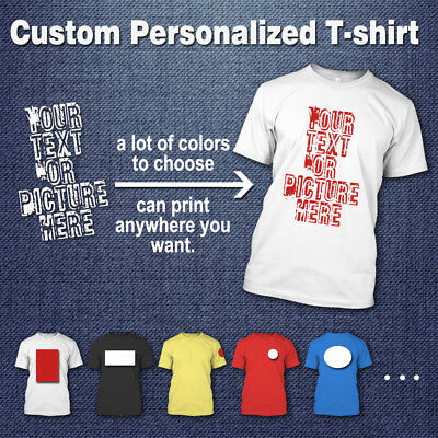 Custom Personalized 100% Cotton T-shirt Your Own Design Text Picture Printed Tee