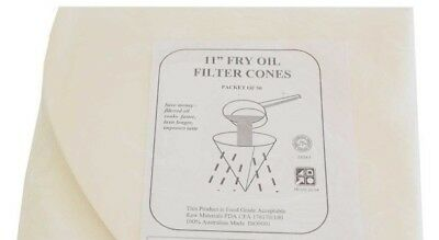 11 INCH FRY OIL FILTER CONES - FOR COOKING OIL - Packet of 50 -  FREE POST