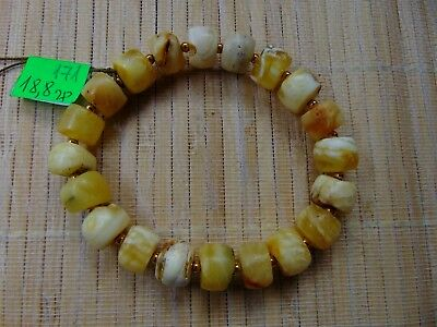 Natural Baltic White Butterscotch Amber stones Bracelet 19 gr