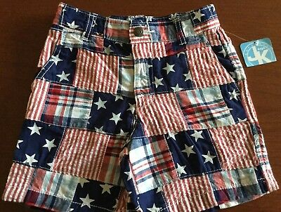 NWT J KHAKI BOYS SIZE 3T Red, White, Blue, Madras, Patterned Fitted Waist Shorts