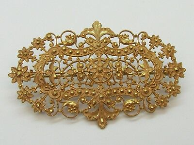 "Vintage Ornate Brass & Enamel Brooch Pin - 3 1/8"" Long Antique Victorian Style"
