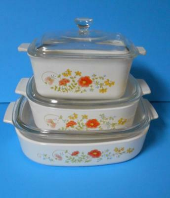 Vintage Corningware..wildflower..3 Casserole Dishes With Lids
