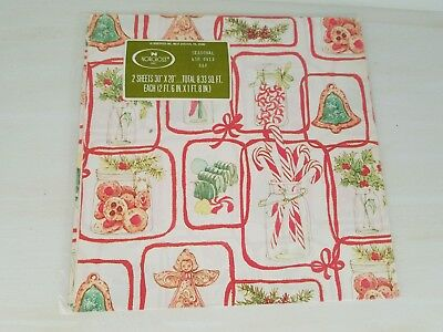 NIP Vintage Norcross Christmas Gift Wrapping Paper Gifts cookies candy angels