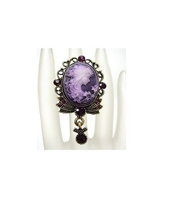 Cameo Ring Adjustable Stretch with Purple Glass Crystals Antique Brass Setting