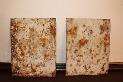 2 Antique Tin Vintage Ceiling Tiles Reclaimed Architectural Salvage