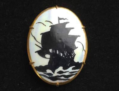 Vtg ANTIQUE Brooch Pin Art Deco or Victorian Porcelian Ship Jewelry lot z OLD