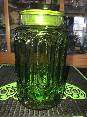 Vintage LE Smith Green Glass Canister Moon and Stars Apothecary Large jar 9.25""