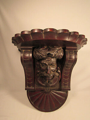 Antique French Hand Carved Wood Corbel Wall Shelf Man's Face Bust