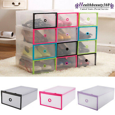 New Plastic Shoes Boots Storage Box White Clear Stackable Foldable Organizer