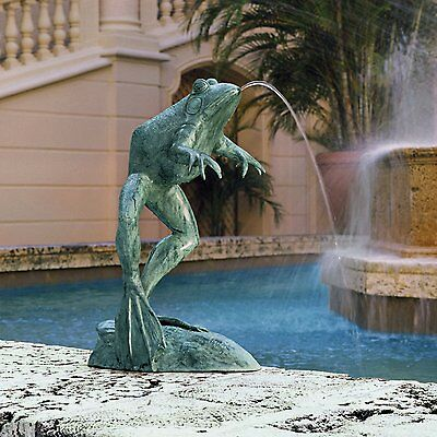 SU1870 - Giant Jumping, Leaping Frog Bronze Garden Statue - Heirloom-Quality!