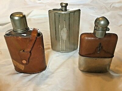 Lot of 3 Vintage Flasks Whiskey Flask Leather Glass Metal Silver Germany Rumpp