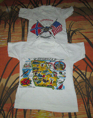 lot of 2 vtg 70s all cotton GEORGIA t-shirt BABY SIZE ga state 1970s must see