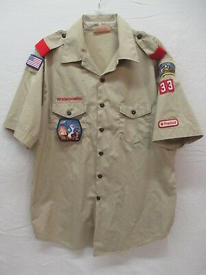 Boy Scouts Of America Leader Shirt Men XL Short Sleeve Patches Fort Wayne (AD)