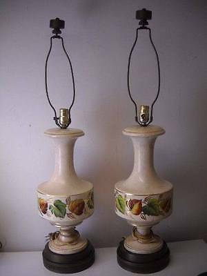 """Gorgeous pair of Large Ceramic and Metal Table Lamps 36"""" Tall Mid Century Modern"""