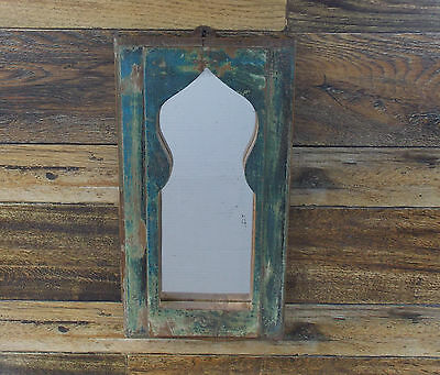 "Primitive Rustic Look Door Panel Wall Mirror 14"" X 7.5"""