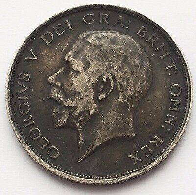 1914 Great Britain 1/2 Crown Silver Coin Free Shipping