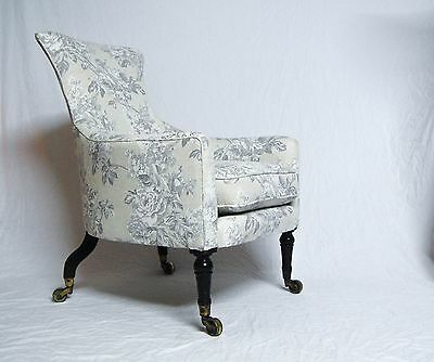 George Iv Period Library Armchair With Cabriole Back Legs & Castors