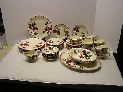 "45 pc. lot HANDPAINTED  BLUE RIDGE SOUTHERN POTTERY ""CRAB APPLE"" DINNERWARE"