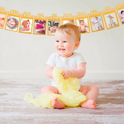 1-12 Months Baby's 1st Birthday Photo Frame Shower Bunting Banner Home Decor
