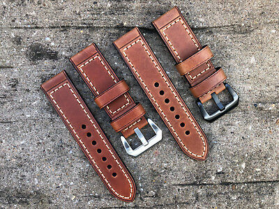 Genuine Brown Leather Watch Strap Band Brushed Steel Buckle 20mm 22mm 24mm 26mm