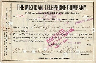 The Mexican Telephone Co 1905 100 shares of stock