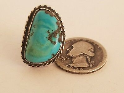Vintage Navajo Sterling Silver & Turquoise Ring 8.9g Size 6.5